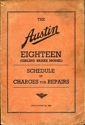 The Austin Eighteen - Schedule Of Charge For Repairs July 1938