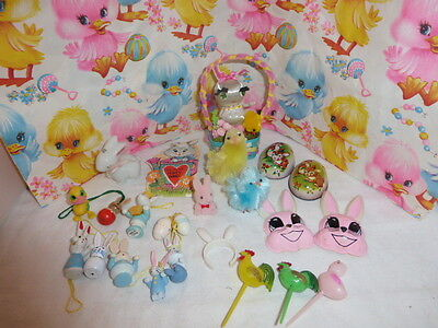 Vintage Lot 24 Miniature Easter Figures Chenille Tin Valentine Ornaments +