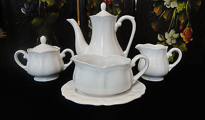 HARMONY HOUSE Sears Federalist WHITE IRONSTONE Coffee Pot CREAMER Sugar GRAVY