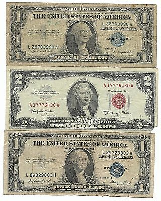 100% Very Old Antique Rare 1935 1957 US Silver Certificate Lot Two Dollar Bill