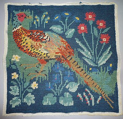 Ehrman Pheasant Medieval Completed Tapestry Needlepoint Canvas - Candace Bahouth
