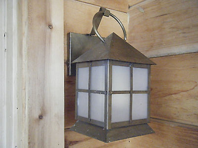Vintage Brass Light Fixture Candle Lantern OIl Gas Antique Patina 18th century