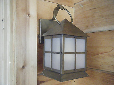 Vintage Brass Light Fixture Candle Lantern OIl GasAntique Patina 17 18th century
