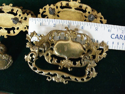 Set of 3 Solid Brass Drawer Pull Plus one knob.