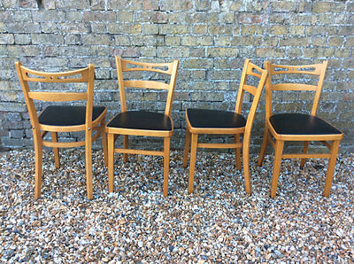 4 Very Rare 1960's beech and black vinyl kitchen / dining chairs