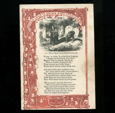 Victorian Proverb Card Church Graveyard scene