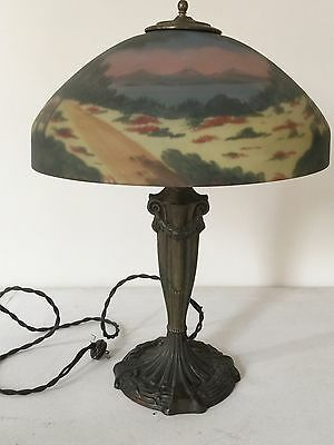 Antique REVERSE PAINTED GLASS SHADE Table Lamp