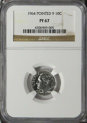 1964 Pointed 9 10c Silver Roosevelt Dime NGC Proof 67