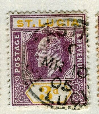 ST.LUCIA;  1904-10 early Ed VII issue fine used 3d. value