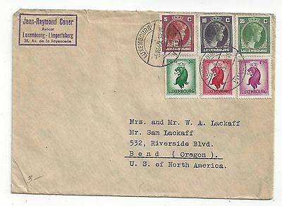 Luxembourg 1945 Cover to US. Colorful Mix
