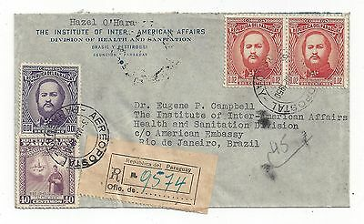 Paraguay 1950 Registered Cover to Brazil, Nice Stamps