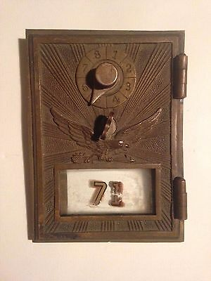 Ornate Antique Brass Mailbox Door With Eagle Sunburst