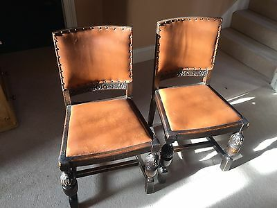 Pair of Antique Jacobean Tudor Style Carved Solid Oak Leather Chairs
