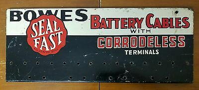 Vintage Bowes Seal Fast Battery Cables Automotive Advertising Display Rack Sign