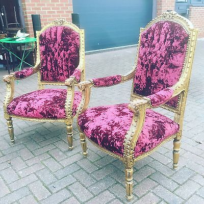 Fine Pair Of Gold Gilt Buttoned Back Armchairs. Open To Offers.
