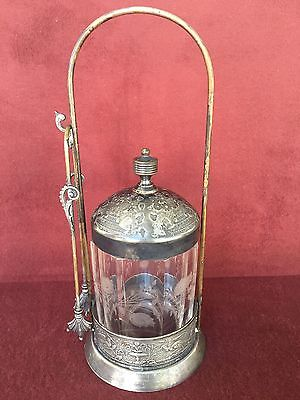 Antique Victorian Silverplate Pickle Castor Complete With Tongs