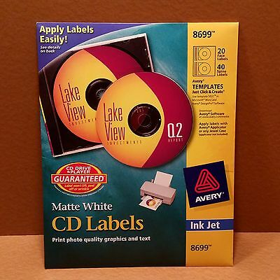 NEW Avery Matte White CD Labels for Inkjet Printers, 20 Face Labels and 40 Spine