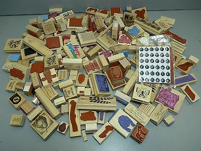 Huge Lot Wood & Rubber Stamps Assorted Type & Size