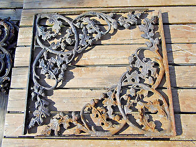 "2 Vintage Cast Iron Shelf Brackets 21"" Leaves Acorns Architectural Salvage"