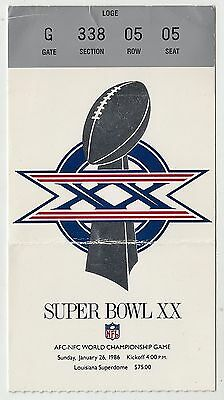 1986 NFL Super Bowl XX Game Ticket Chicago Bears vs New England Patriots (02145)