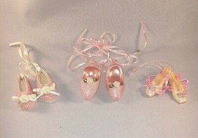 Ballet Slipper Christmas Tree Ornament Shoes Decor Pink Glitter Lot of 3 set