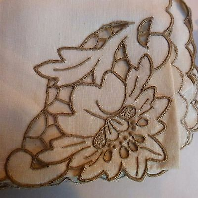 "11 Vintage Madeira Linen 16"" Fancy Napkins Cutwork Taupe Hand Embroidered Lace"