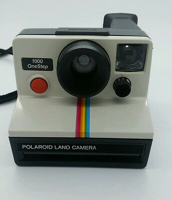 Beautiful Polaroid Land Camera 1000 OneStep with rainbow stripes COLLECTABLE