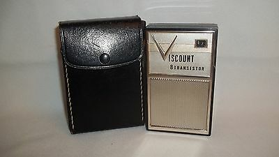 Vintage Viscount 8 Transistor Radio in Leather Carrying Case Model 831