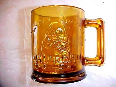 Antique Child's Nursery Rhyme Glass Mug Tom Tom The Pipers Son, Humpty Dumpty