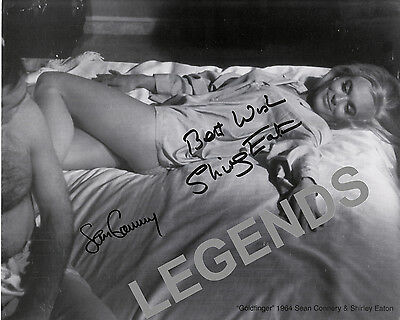 """Sean Connery & Shirley Eaton Goldfinger 8"""" x 10"""" B&W AUTOGRAPHED Photo Reprint 6"""