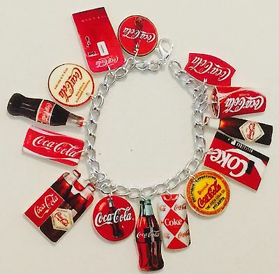 Coke Coca Cola Soda Pop Loaded Bracelet HANDMADE PLASTIC CHARMS Drink Can Fun