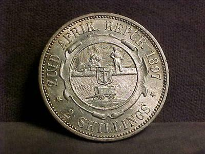 South Africa 2 Shillings Silver Coin 1897 XF/AU