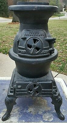 Antique Vintage Sears Roebuck 119-57 Cast Iron Pot Belly Stove great condition