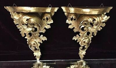 LARGE Antique Florentine Rococo Italian Carved Wooden Gold Gilt Wall Shelf Pair