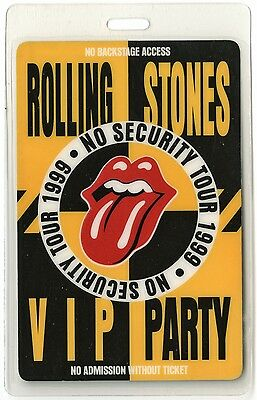 Rolling Stones authentic 1999 tour Laminated Backstage Pass