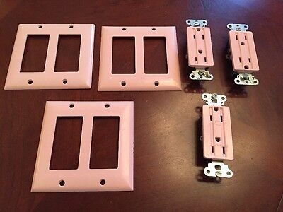 Lot of vintage Powder Pink Electrical Outlets And Double Switch plate Covers