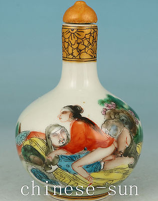 Asian Chinese Old Porcelain Handmade Painting Ancient Married Snuff bottle art