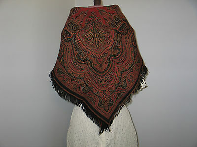 ANTIQUE circa 1800s PAISLEY KASHMIR SHAWL-WRAP Tablecloth WOOL-Silk Reversible