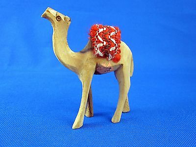 Olive Wood Carved Camel Handmade from the Holy Land with Red Saddle