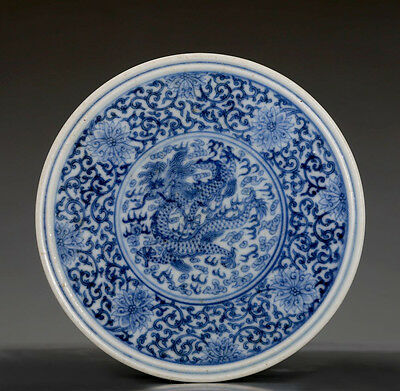 Amazing Chinese Antique Blue and White Porcelain Cover Box QianLong Mark FA058