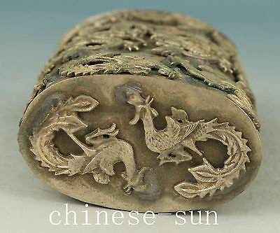 Delicate Chinese Old Copper Handmade Carving Dragon phenix Collect Statue Box