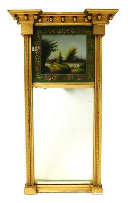 MIRROR: 19th C. Federal wall mirror, gilded frame, projecting cornice... Lot 232