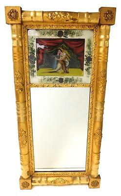 MIRROR: 19th C. Federal wall mirror, reverse painted tablet with moth... Lot 164