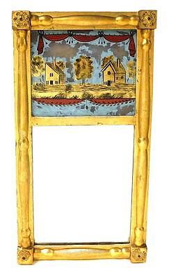 MIRROR: 19th C. Federal wall mirror, reverse painted tablet of two ea... Lot 261