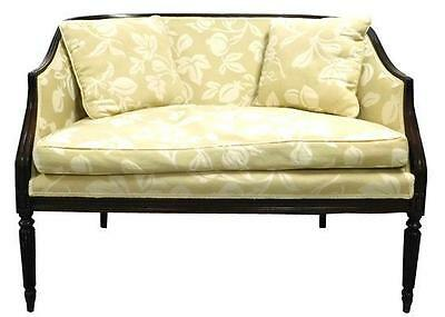 Federal style settee, tan upholstery patterned with white fruit and f... Lot 163