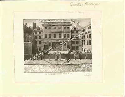 AJN-174 Antique Print The Old Bailey Sessions House in 1727