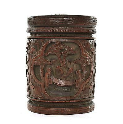 Early 20C  Chinese Bamboo Carved Carving Tea Caddy Box with Labels
