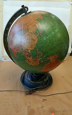 "Vintage Replogle 10"" Reference Globe On Tin Stand Geography Library Lights Up"