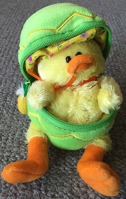 Plushland 2006 Yellow Chick Bird Green Zipper Easter Egg Beanbag Plush