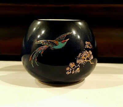 Carlton Ware Enameled Blue Bowl with Parakeet Bird, Butterflies and Flowers.  NR